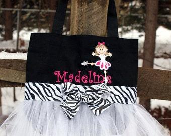 Custom Boutique Monogramed Name Tutu Dance Ballet Tote Bag