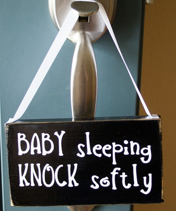 Baby sleeping knock softly wood sign door hanger by Where did the saying knock on wood come from
