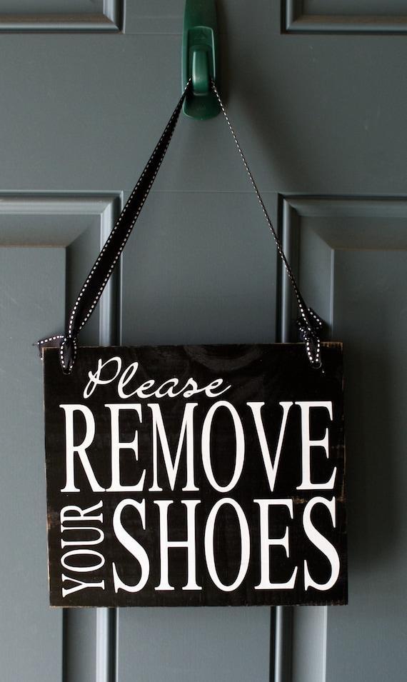 Please Remove Your Shoes Door Hanger Wood Sign By Creativecatt