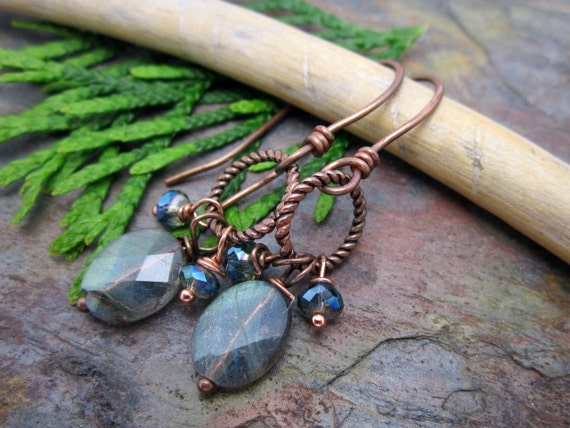 Labradorite Gemstone Earrings with Oxidized Copper