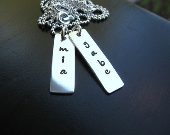 Personalized stamped necklace, Hand stamped rectangle tags