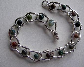 Wire Wrapped Sterling Silver Jasper Bracelet, Handmade Jewelry, Green Brown Red Jasper Bracelet