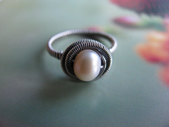 Wire Wrapped Sterling Silver Pearl Ring, Handmade White Pearl Ring Size 6 1/2