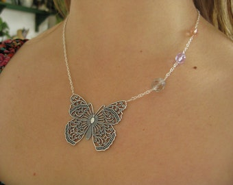 ON SALE . Papillon Necklace . Butterfly Filigree, Pastel Czech Glass and Sterling Silver