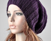 Hand knit hat - chunky hat, slouchy hat, rib band hat, deep purple hat-ready to ship