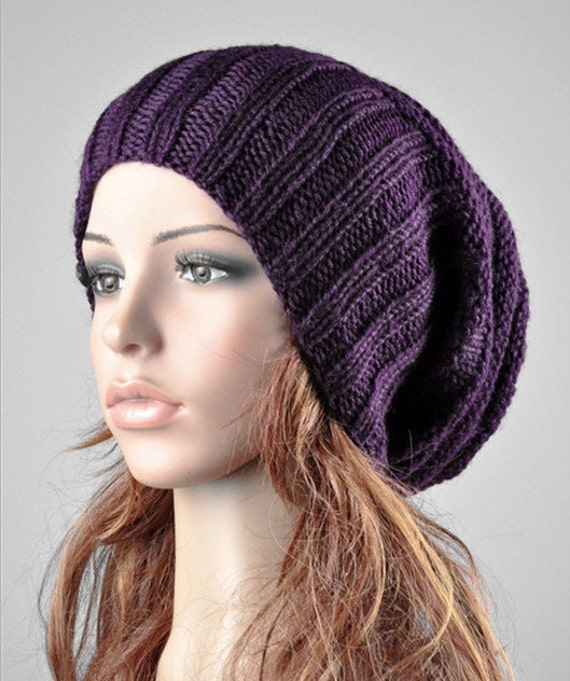 Hand knit chunky hat slouchy hat rib band hat purple hat-ready to ship