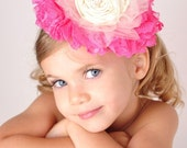 CANDY COTTAGE medium crown hairpiece for photoshoots, special occasions, and  weddings. In shades of pink
