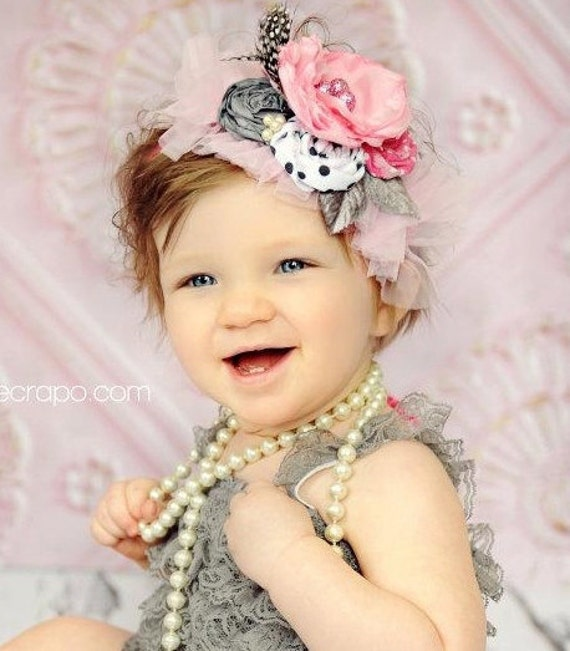 Items similar to frolic in finery 3 fancy headband for dress up and photo props in pink and grey - Diademas para ninas ...