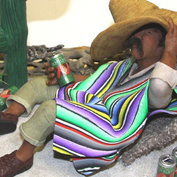 Polymer Clay Sculpture Figurine Mexican Dude Beer Drinker
