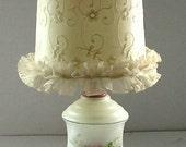 Vintage Lamp Milk Glass Toleware Base Fabric Shade