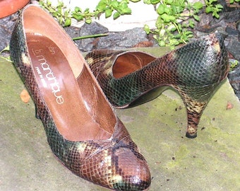 Vintage Stuart Weitzman Shoes Snakeskin Python Leather Martinique Box