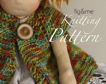 Nanette Doll Jacket, PDF knitting pattern, Instant download.
