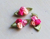 Ribbon Rose Appliques 301.2 - 3 Colors' Tulip Buds with leaf - 12 pcs