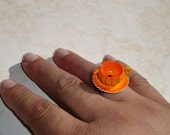 Miniature Teacup Ring - Mini Pumpkin Tea Cup Ring