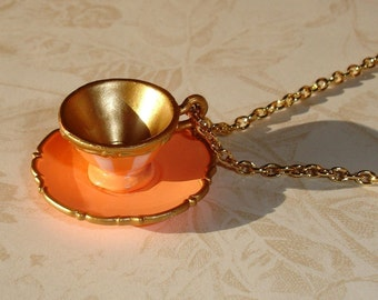 Orange Alice in Wonderland Teacup Necklace II -  Teacup Jewelry