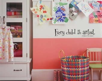 Vinyl Wall Decal Playroom Art Picasso Wall Words Wall Decor Kids Art Wall 011-36
