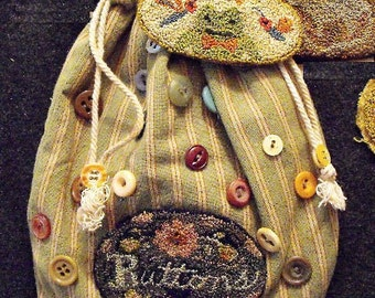 Buttons Kit for punchneedle embroidery by Karen Kahle//pattern on weavers cloth//DMC cotton floss//Primitive Spirit