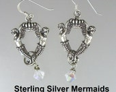 French Antique Style Silver CROWN MERMAID Pierced EARRINGS Swarovski Crystals-e-mer