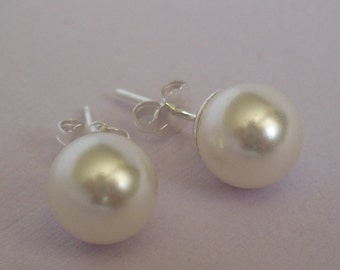 8mm Swarovski Pearl and Sterling Silver Stud Earrings - 34 Pearl Color Choices
