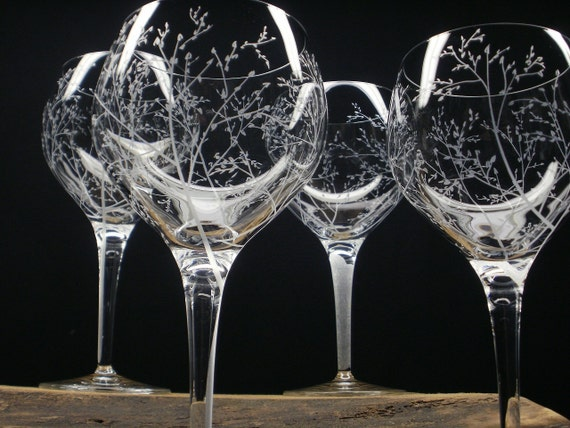 4 Red Wine Glasses 17 oz. Hand Engraved Crystal Glass 'Branches And Leaves' Holiday Tableware