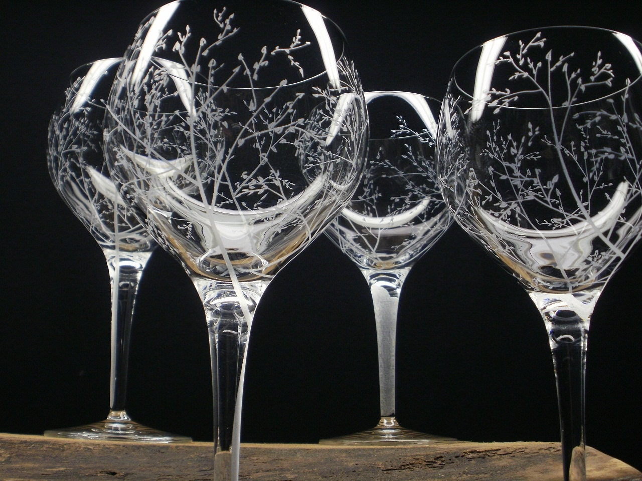 4 Red Wine Glasses 17 Oz Hand Engraved Crystal Glass