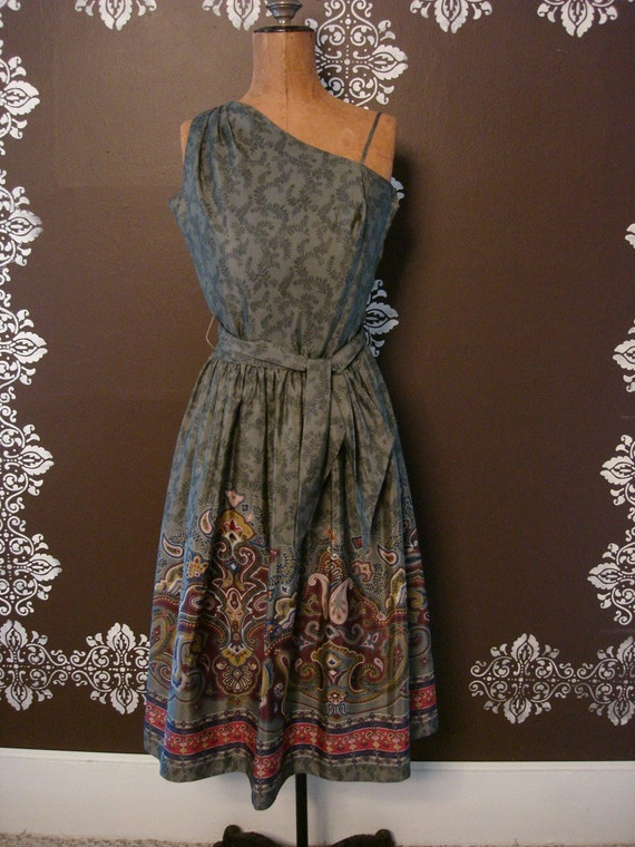 50s Silk Dress Gunmetal Goddess One Shoulder Print Sundress S