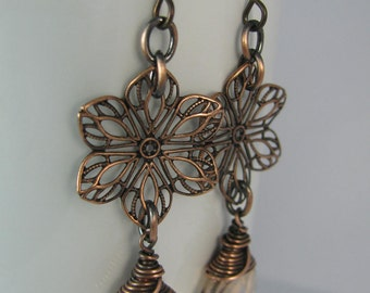 Wire Wrapped Golden Crystals with Flower Filigrees