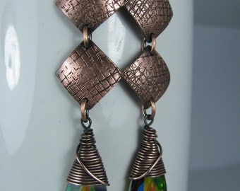 Wire Wrapped Emerald and Rainbow Crystals with Hammered Copper Diamonds