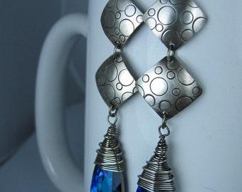 Sterling Silver and Swarovski Bermuda Blue Briolettes