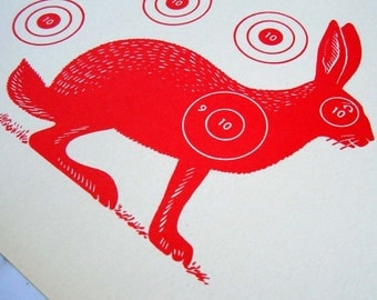 Vintage Jack Rabbit Target Shooting Paper Red Silhouette