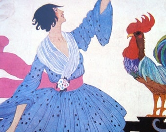 VOGUE Magazine Cover Poster Print Illustrated by Helen Dryden July 1, 1918 Lady with Rooster Vogue Poster Book