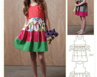 Girls Dress Sewing Pattern, Tween Dress Sewing pattern, Girls dress pattern, , digital download sewing pattern, digital dress pattern