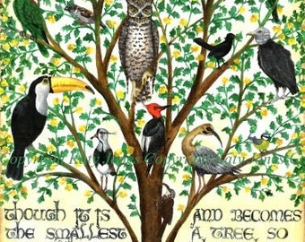 Mustard Tree - A4 signed art print - inspirational, tree of birds