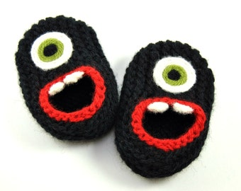 Wool Baby Monster Slippers - Black, Wool Baby Slippers, Crib Shoes, Booties