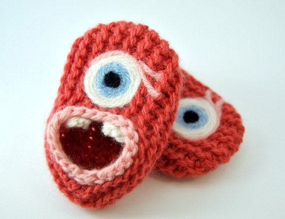 Wool Baby Monster Slippers - Pink with Eye Lashes, Wool Baby Slippers, Crib Shoes, Booties
