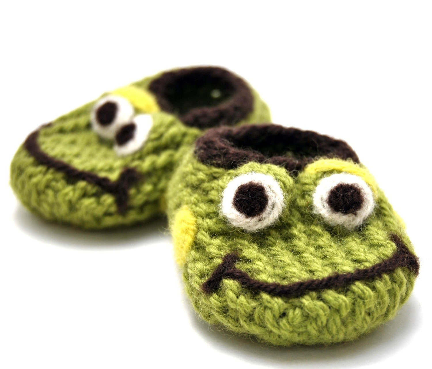 Knitting Pattern For Frog Slippers : Wool Baby Frog Slippers Wool Baby Slippers Crib by ...