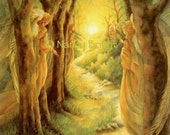Journey On, My Beloved- Angels hover in the forest as the distant traveler follows the illumined path