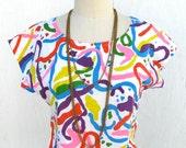 Vintage 80s color explosion cotton top, shirt
