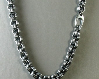 Mens Heavy Silver Chain Link Necklace