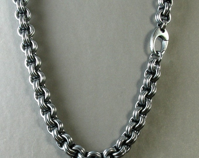Custom Hand-Woven Men's Heavy Chain Link Necklace in Oxidized Sterling Silver
