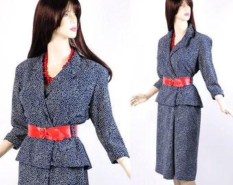 Vintage 80s Blue White Dots Peplum Dress M L