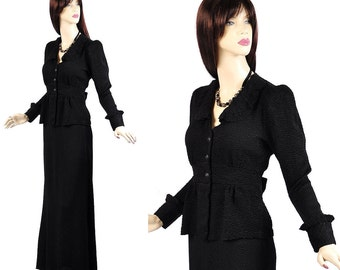 Vintage 70s Victorian Revival Dress Set XS