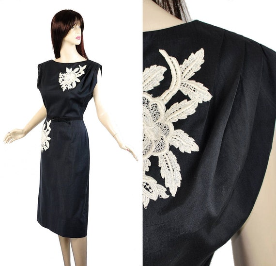 Vintage 50s Cocktail Dress M // Appliqued Sheath Dress