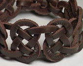 Mens Bracelet  -- Celtic 7 Knot Josephine Spanish Leather Cuff / Wristband