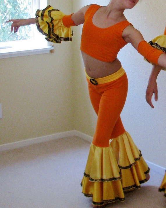 Ruffled bell bottom Samba pants set for dance or costume, orange yellow and gold, lightly used