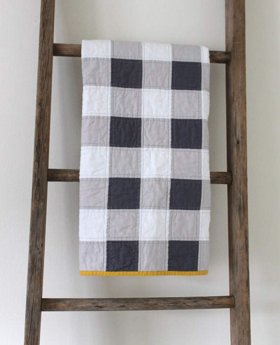 grey gingham baby quilt.