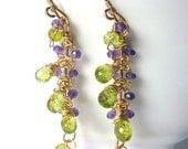 Amethyst and Peridot Gold Earrings