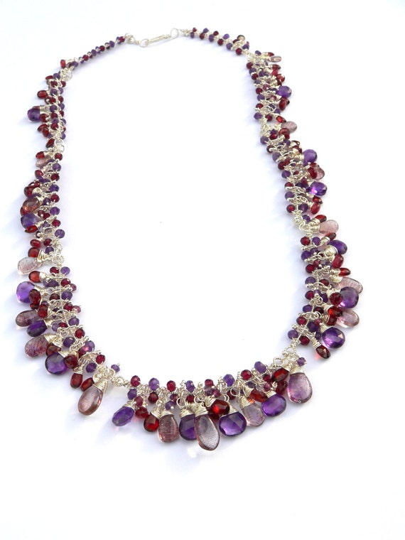 Amethyst, Garnet and Lepidocrosite Necklace - Fine Jewelry - One of a Kind - Tagt - Free Shipping