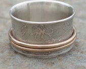 Floral Etched Spinner Ring Sterling Silver and Gold filled