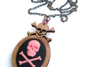 Skull and Crossbones pirate necklace light pink and black